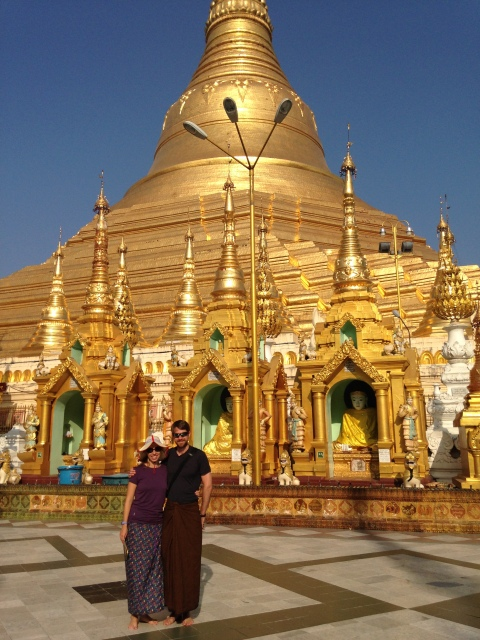 Sporting longyis on New Year's Day at Shwedagon Pagoda in Yangon