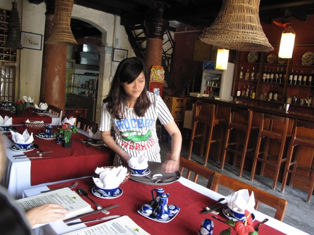 Inside lovely Moon Restaurant in Hoi-An. Our favorite dining experience of the trip.
