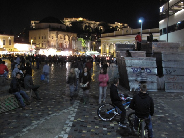 Athens by night: Streets abuzz and glowing ruins