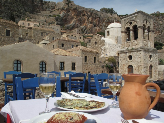 Lunch (and a pitcher of wine!) on a Monemvasia rooftop.