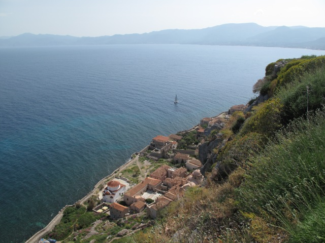 View of Monemvasia from the top of the island