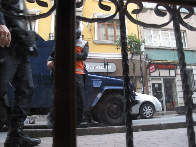 The scene from our basement apartment in Istanbul during the riots.